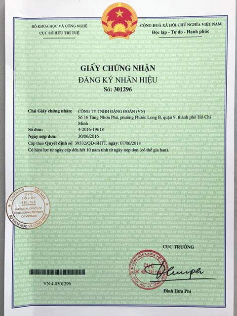 DonaKein được cấp Giấy chứng nhận đăng ký nhãn hiệu sở hữu trí tuệ